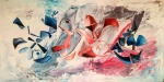 Painting Blue and red floating abstract shapes on white background with pink and blue shades