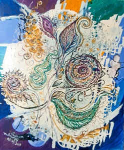 Lilac, purple, yellow tones flower like shapes and green leaves like forms on creamy white enamel and mottled colorful background