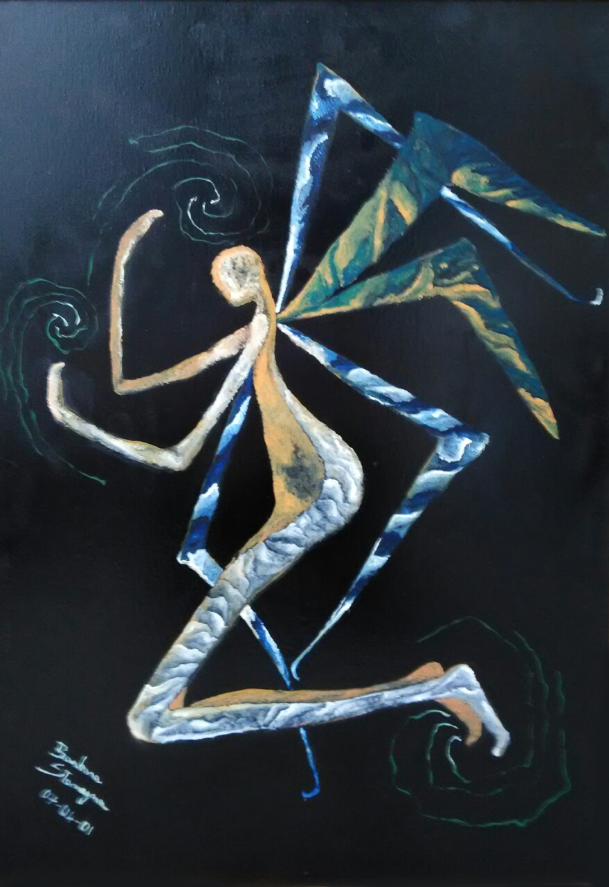 Abstract image in blue, light blue, white, yellowish, gray, green colors of a kneeled angel on black enamel background