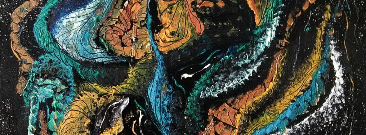 light blue shades on black enamel background