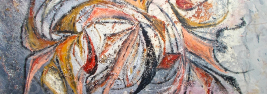 abstract ash and ember intuition artwork painting in gray, white, pink, orange, black, brownish and reddish tones, with curved shapes and bent lines
