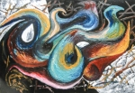 Confluence shapes impression like abstract artwork image in blue, green, yellow, white, red, brownish, pink, blue tones