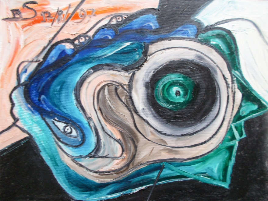 abstract image with a central eye like figure and circular concentric shapes with bended lines and nuances.