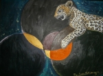 leopard on overlapping circles planet like shapes background in brown, white, black, yellowish,