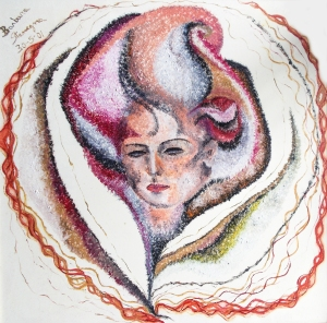 Abstract image of a human face, blossom like figure in pink, black, white, gray, yellow, orange, red, purple, brownish tones
