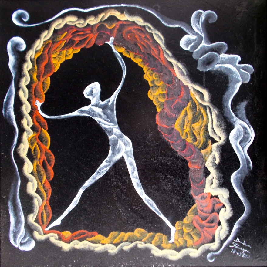 Living space like image in white, red, orange, light pink tones with an abstract human like standing figure with curved braided rope like shapes and bended lines