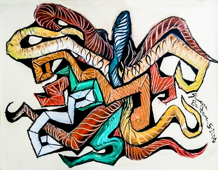 abstract image evoking an octopus with multicolored tentacles
