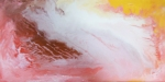 Abstract ongoing red marble like image in creamy white, red, yellow, pink, brownish, peach fluid tones