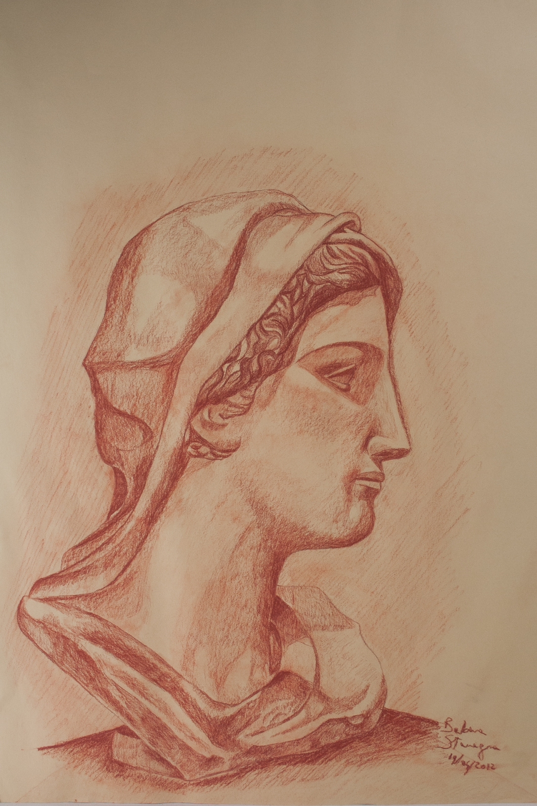 Sanguine drawing on paper representing a Roman bust