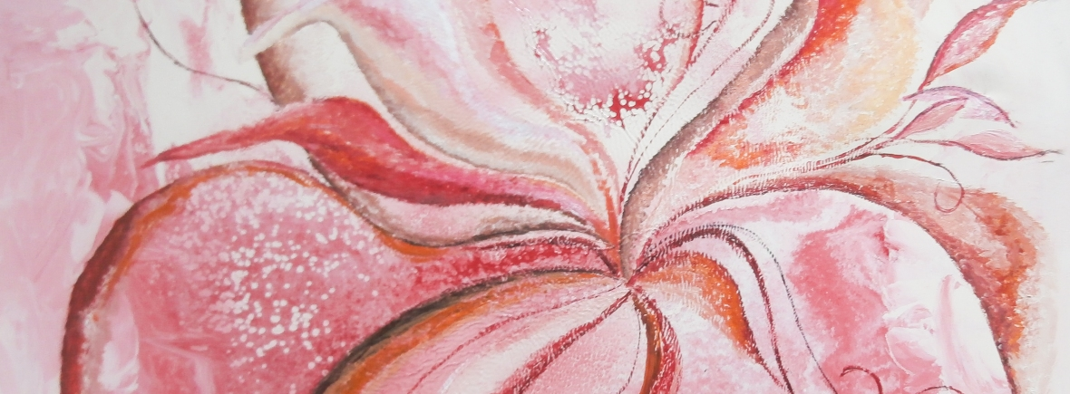 romantic mood in pink, white, red, brownish, yellow, black, gray, orange tones image with petals like curved shapes