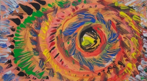 Multicolored abstract-impressionistic eye like image with round concentric shapes