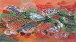 Multicolored abstract-impressionistic floating feathers like image