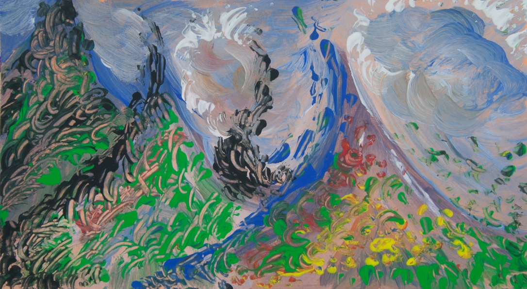 Multicolored abstract-impressionistic mountain view image