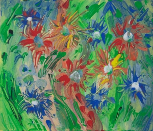 Multicolored impressionistic flowers image