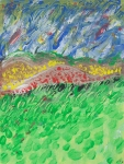 Multicolored abstract-impressionistic windy landscape