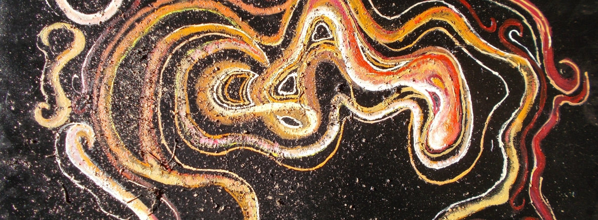 image in white, red, orange, brownish, yellow tones with curved shapes and bended lines and curls