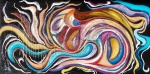 Peach, red, white, blue tones, red tones, yellow, purple tones curved colored shapes abstract image