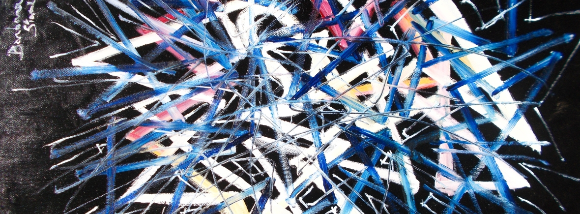 Abstract high contrast geometric image in white, dark pink, yellow, blue tones with geometric lines and shapes