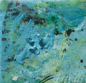 Light blue abstract image with dark green spots and dark bluedots and spots,