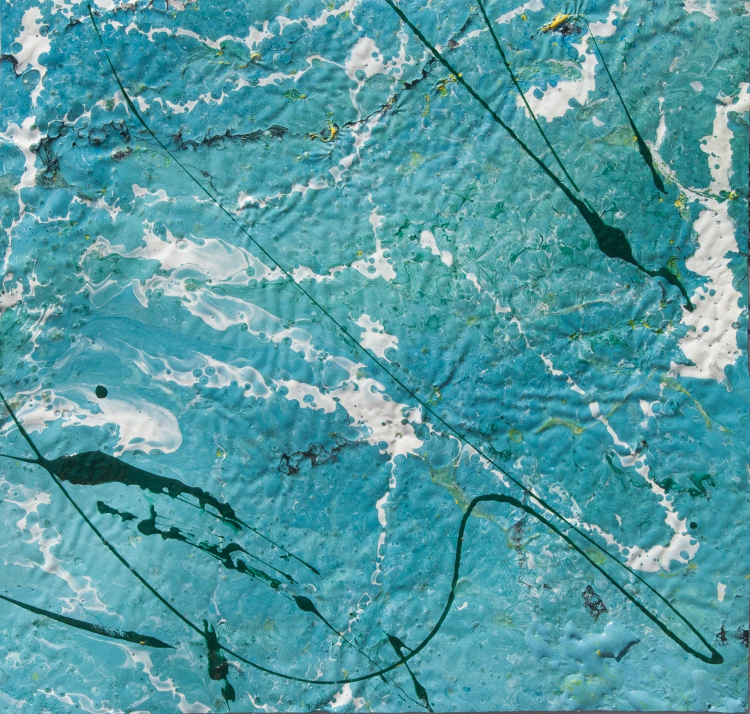 Artwork realized with enamel and tempera colors poured or dripped and smeared on canvas with a knife modified by atmospheric agents with pieces of clotted enamel.