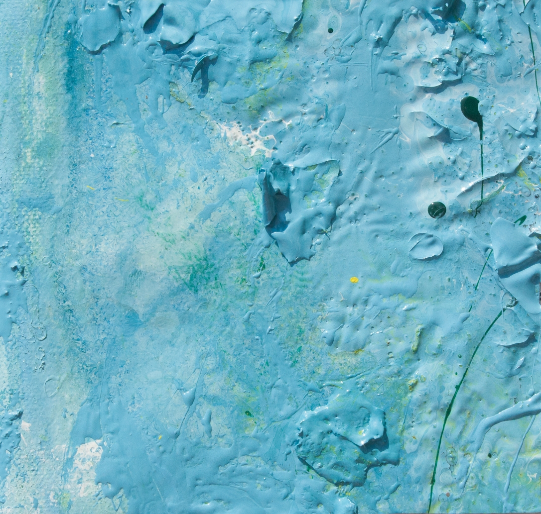 Artwork realized with enamel and tempera colors poured or dripped and smeared on canvas with a knife modified by atmospheric agents with pieces of clotted enamel. This artwork is the n. 25 of the 30 equal size pieces (cm13xcm13,7) of the painting PPP Light Blue Abstract (cm 78x68,8). My PPP (Pieces Painting Project) consists of creating a painting and then dividing it and cutting it in several pieces, so that each buyer will own a different part of the artwork. The PPProject is conceived to create connections between people