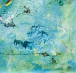 enamel and tempera colors poured or dripped and smeared on canvas with a knife modified by atmospheric agents with pieces of clotted enamel. This artwork is the n. 26 of the 30 equal size pieces (cm13xcm13,7) of the painting PPP Light Blue Abstract (cm 78x68,8).