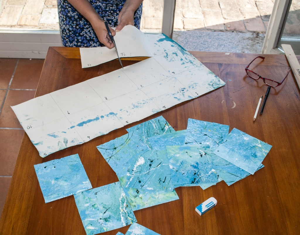 Barbara Stamegna cuts her painting in pieces