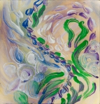 soft swirling flowers abstract art: blue green purple flowers swirl