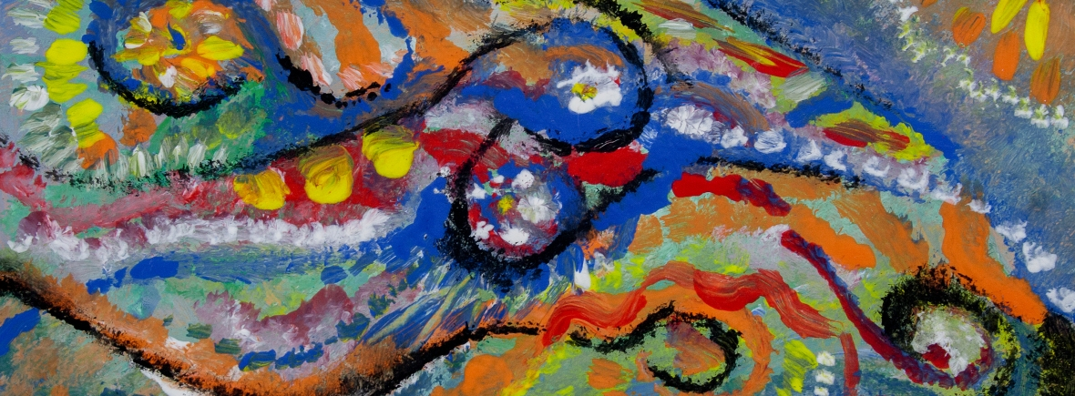 Abstract bright colors movement like image with round shapes, bended lines and abstract images
