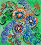 Abstract green meadow with flowers and foliage like image with round concentric shapes and dots
