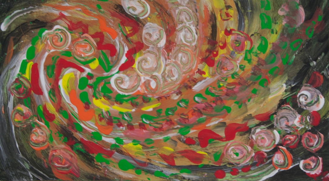 Abstract swirling curls like image with swirls, round concentric shapes and bended lines