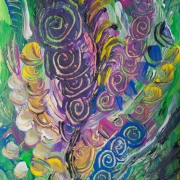 Multicolored abstract flowers and plants image in green, light green, purple, fuchsia, pink, blue, yellow, white and black, colors. Miniature painting realized with tempera colors on a small size yellow colored cardboard.
