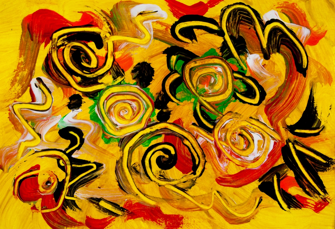 Abstract yellow movement like image in bright colors with swirls, round shapes and bended lines