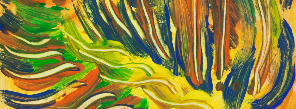 Colorful converging lines on yellow background abstract image with central rope like pattern and bended lines