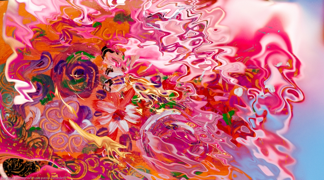 abstract floral suggestion liquid image with flowers and fluid shapes on blurred background