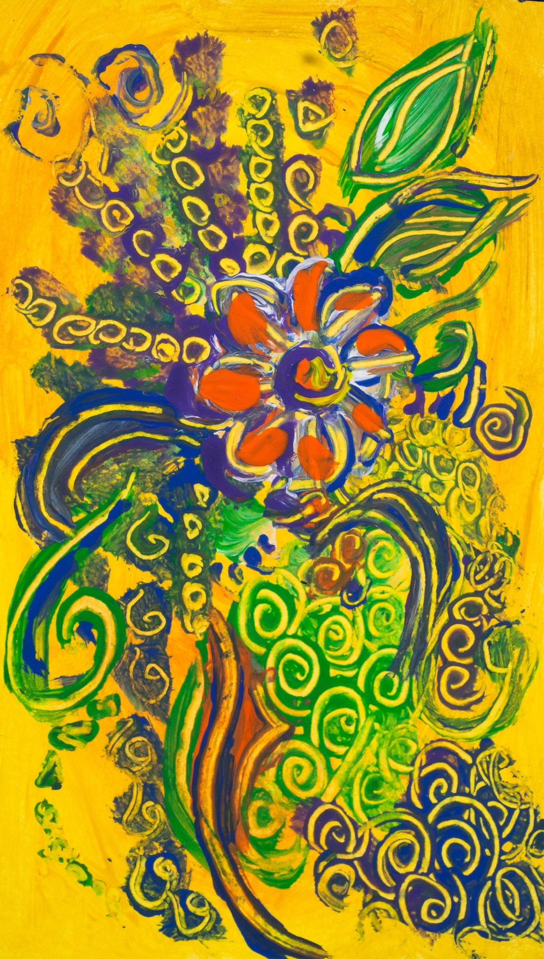 Abstract flower composition like image on yellow background with a central orange flower, with bended lines, spots of color and round shapes