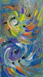 abstract multicolored spirals and round shapes in shades of blue