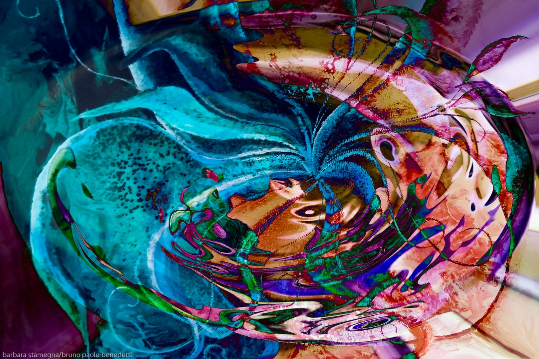colorful abstract swirl art: colors vortex image with swirling objects and shades fusion art