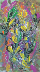 colorful floral abstraction: colorful Colorful abstract image with floral and nature pattern with bended lines