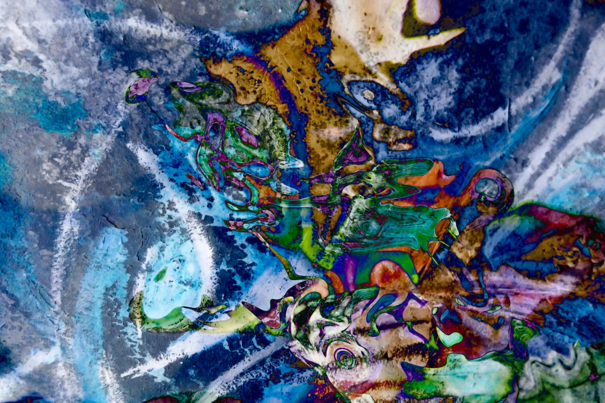 dominant blue object abstraction art: colorful mottled image with irregular shapes and forms photography painting fusion art