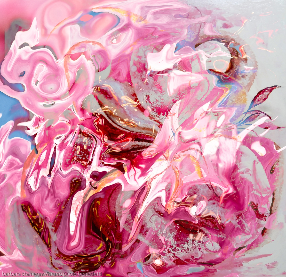 floral pink abstract flower like image in pink tones with shades