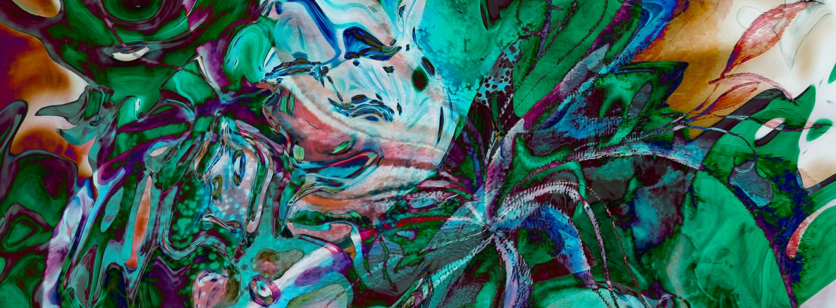 green labyrinth abstractions photography painting art in bright mottled colors