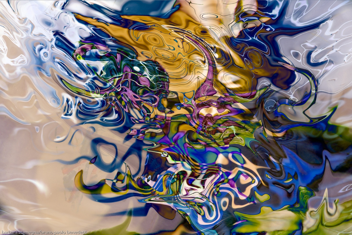 liquid objects abstraction: colorful fuid image with dissolving shapes fusion art
