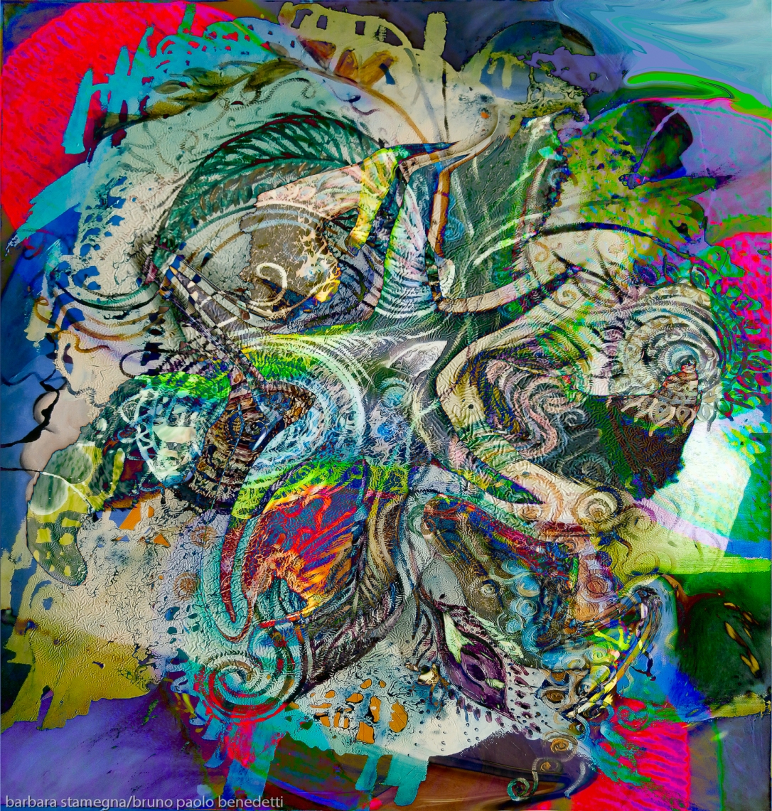 mottled multicolored abstract composition image with detailed objects and shapes photography painting fusion art