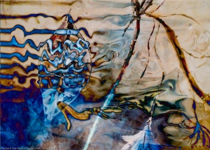 water dream abstraction image with fluid shapes, lines, waves and colors in blue and light brown tones photohraphy painting art