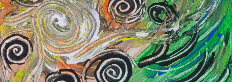 Dynamic abstract image with concentric shapes in movement and bending lines on mottled background