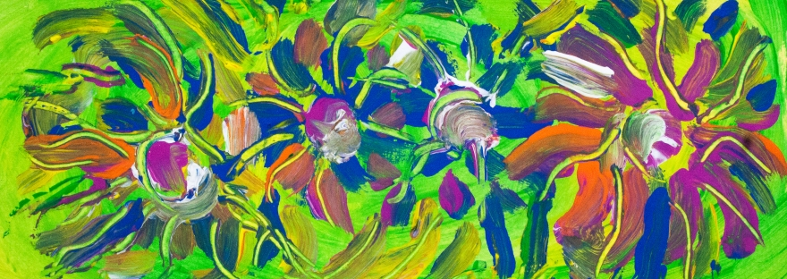 Abstract multicolored flowers image on green background with abstract flower shapes, bended lines and spots of color