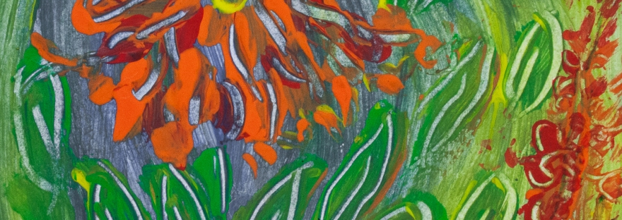Abstract orange flower like image with leaves and spots of color