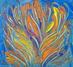 Colorful abstract aquatic plant like image with bended lines and branches like shapes