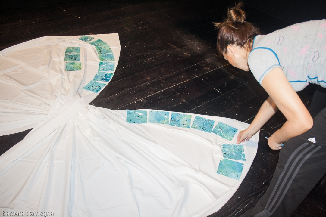 Barbara Stamegna working on her art installation